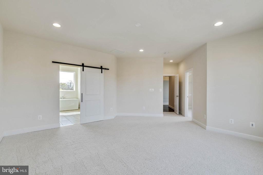 Owner's suite w/ barn door to deluxe owner's bath - 23182 HAMPTON OAK TER, ASHBURN