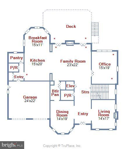 Main Level Floor Plan - 1070 VISTA DR, MCLEAN