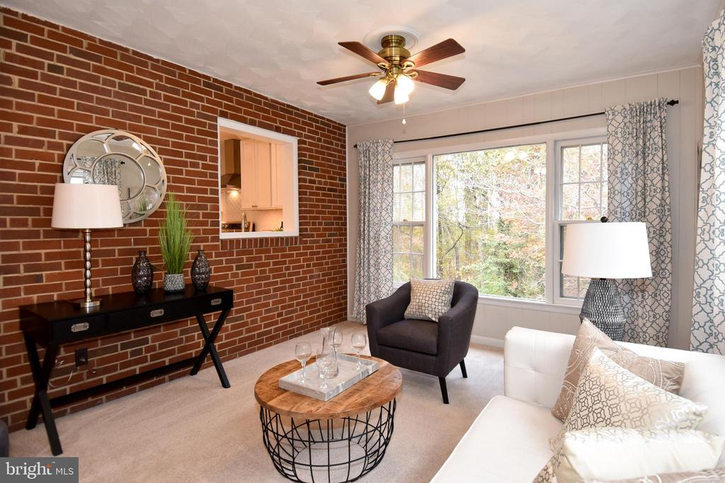 Brick wall accent and picture window to park. - 535 N LONGFELLOW ST, ARLINGTON