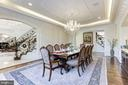 Oversized dining room with custom molding. - 11643 BLUE RIDGE LN, GREAT FALLS