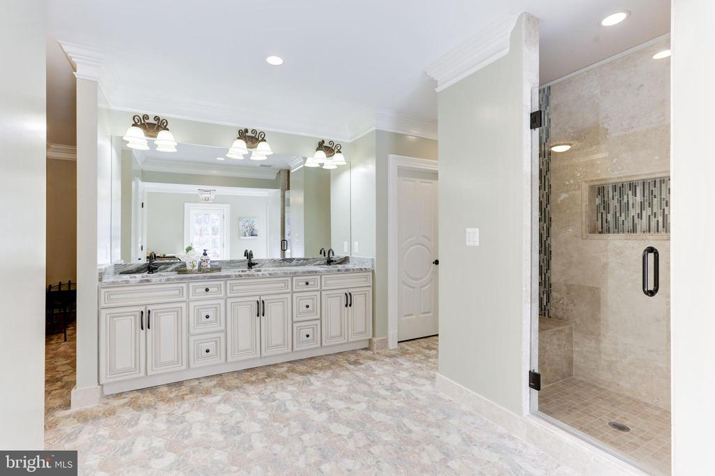 Triple-vanity, shower and two power rooms- pool BA - 11643 BLUE RIDGE LN, GREAT FALLS