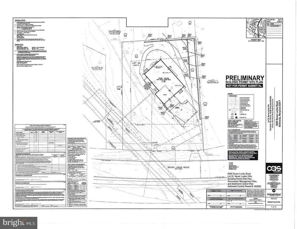 Site plan for this new home - 8609 SEVEN LOCKS RD, BETHESDA