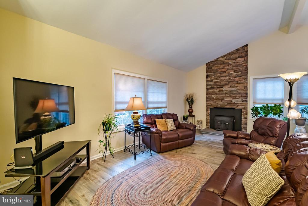Family Room with Wood Stove & Stone Surround - 132 E MEADOWLAND LN, STERLING