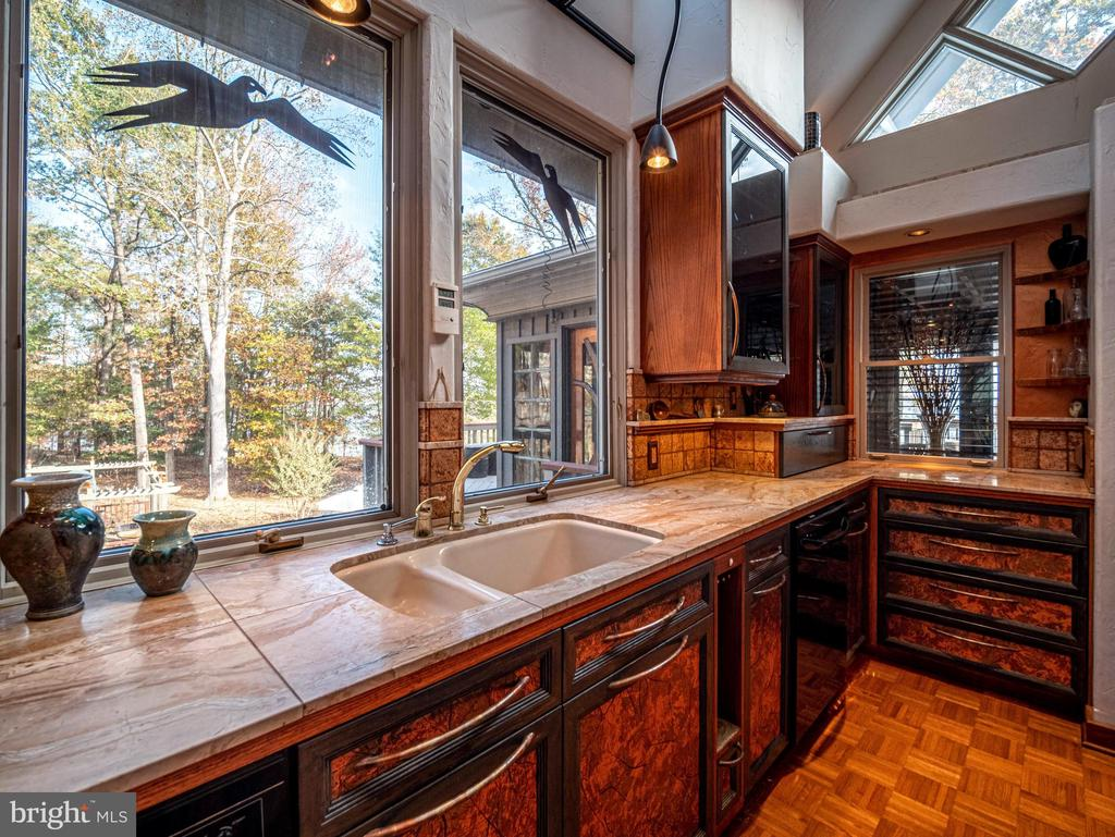 Custom curved copper handles and marble tile tops - 4610 FRIENDSHIP ACRES RD, NANJEMOY