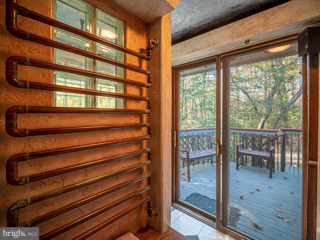 Copper heated towel bar and view of deck by shwr - 4610 FRIENDSHIP ACRES RD, NANJEMOY
