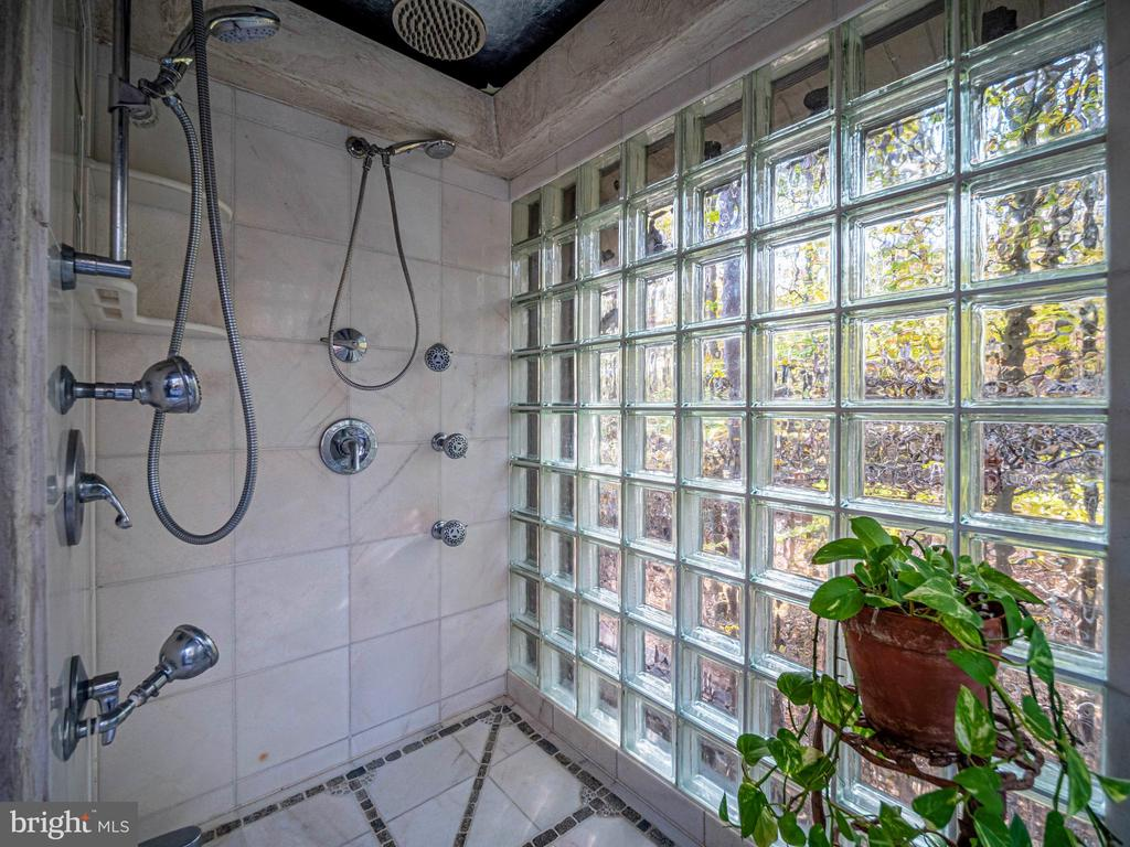 Glass block shower w/marble and stone mosaic floor - 4610 FRIENDSHIP ACRES RD, NANJEMOY