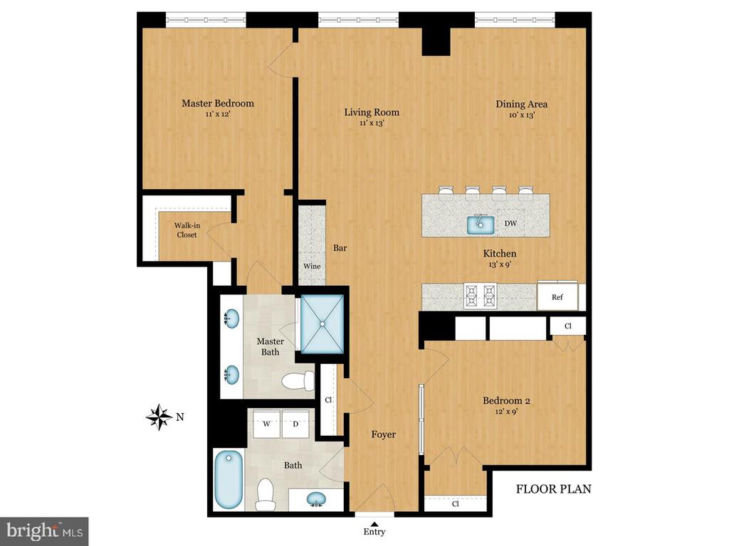 Floor Plan - 1600 CLARENDON BLVD #W103, ARLINGTON