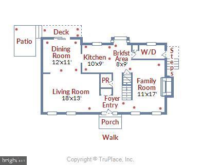 Main Level Floor Plan - 11831 DINWIDDIE DR, NORTH BETHESDA