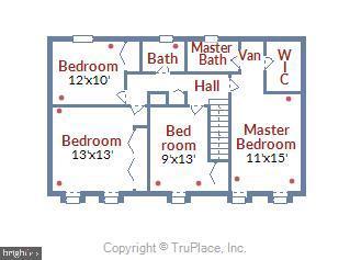 Upper Level Floor Plan - 11831 DINWIDDIE DR, NORTH BETHESDA