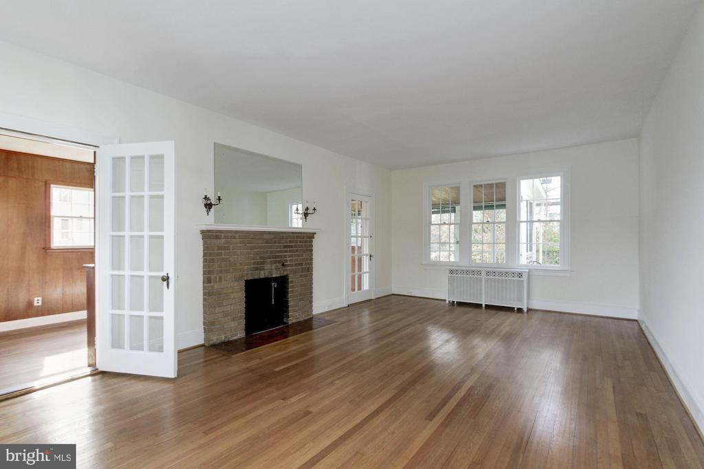 Living Room with fireplace - 7500 CONNECTICUT AVE, CHEVY CHASE
