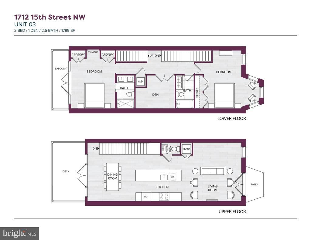 Penthouse floor plan - 1712 15TH ST NW #3, WASHINGTON