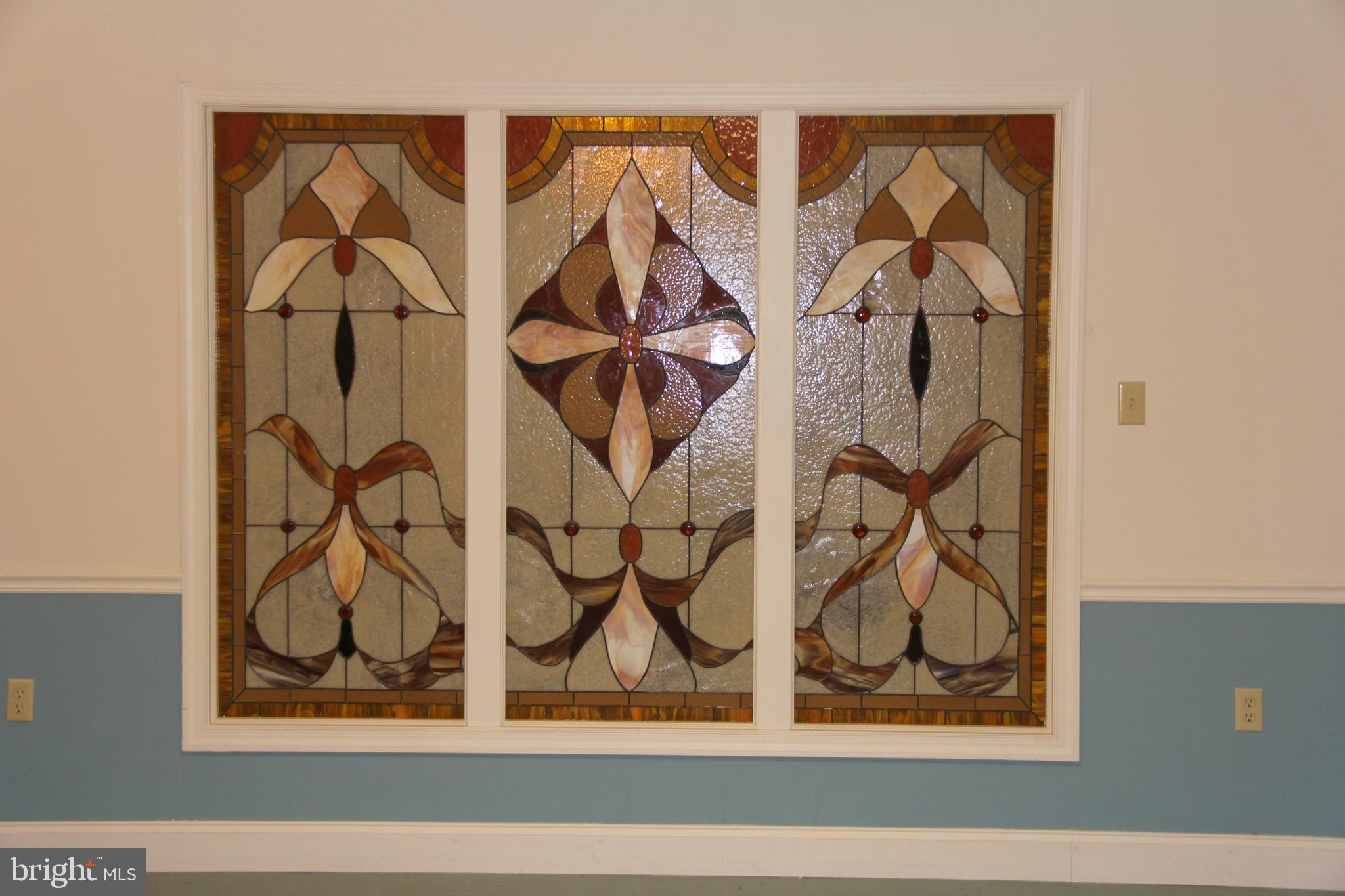 Stain Glass insert in Family/Recreation Room