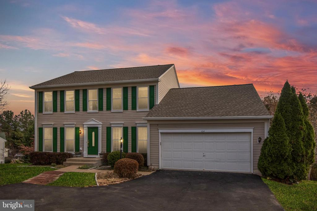Front Exterior at Dusk - 64 BRITTANY LN, STAFFORD