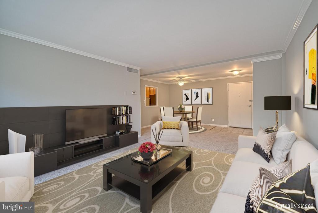 Living room Dining room combo (virtually staged) - 10570 MAIN ST #520, FAIRFAX