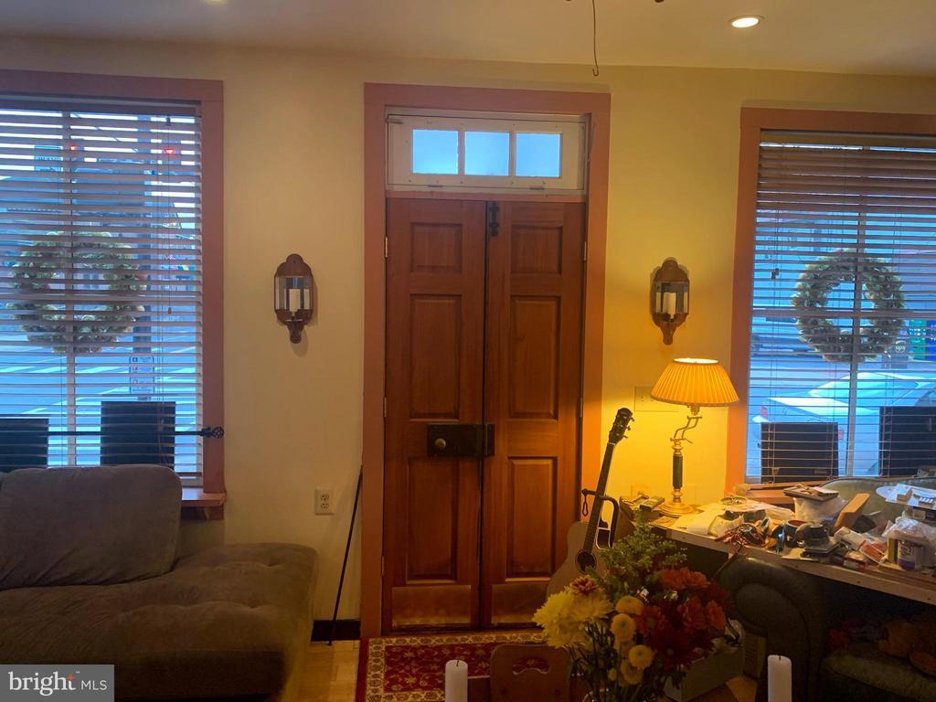 Wooden front doors from inside. - 501 CAROLINE ST, FREDERICKSBURG