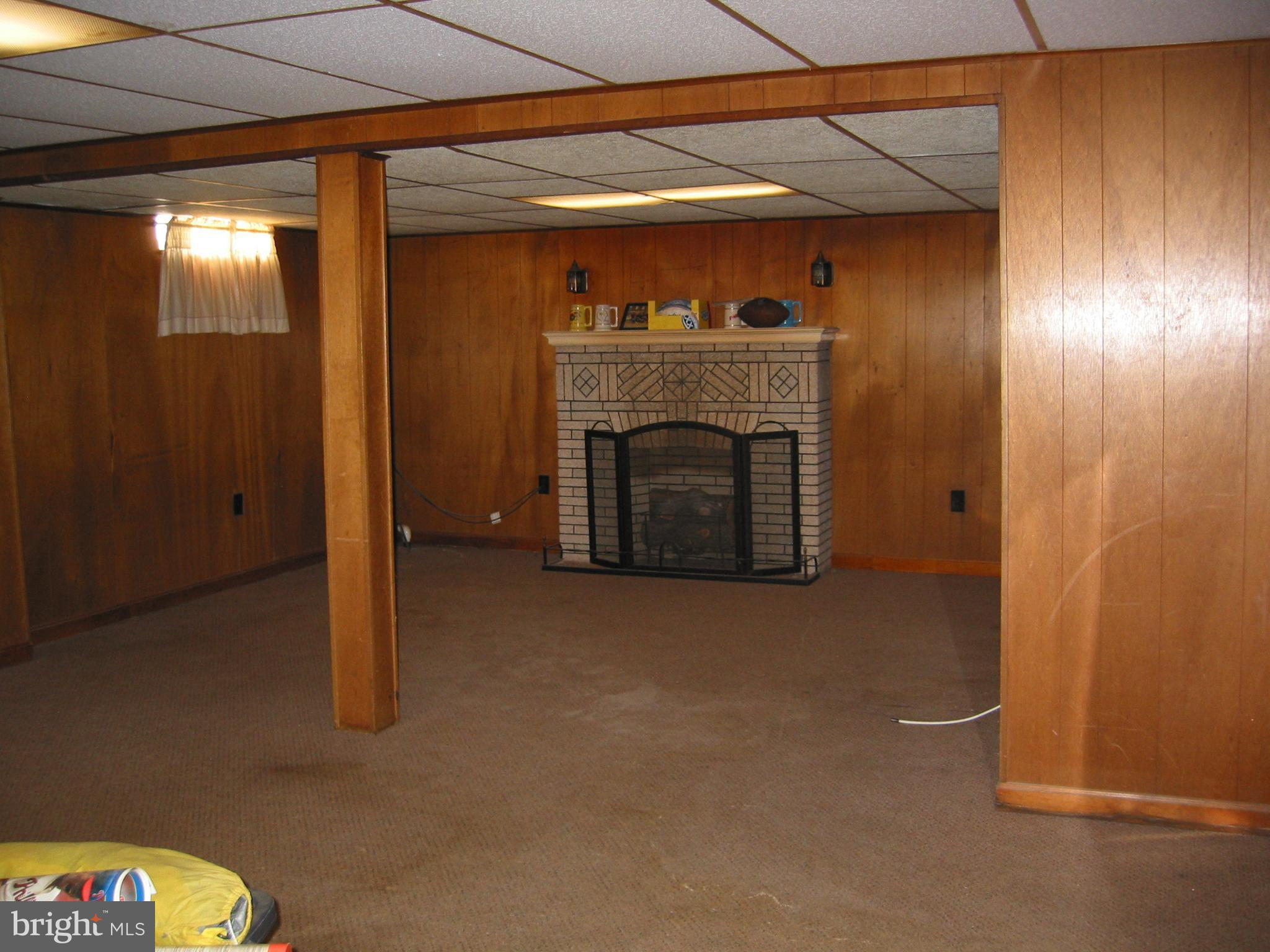 Finished Portion of Basement with Gas Fireplace