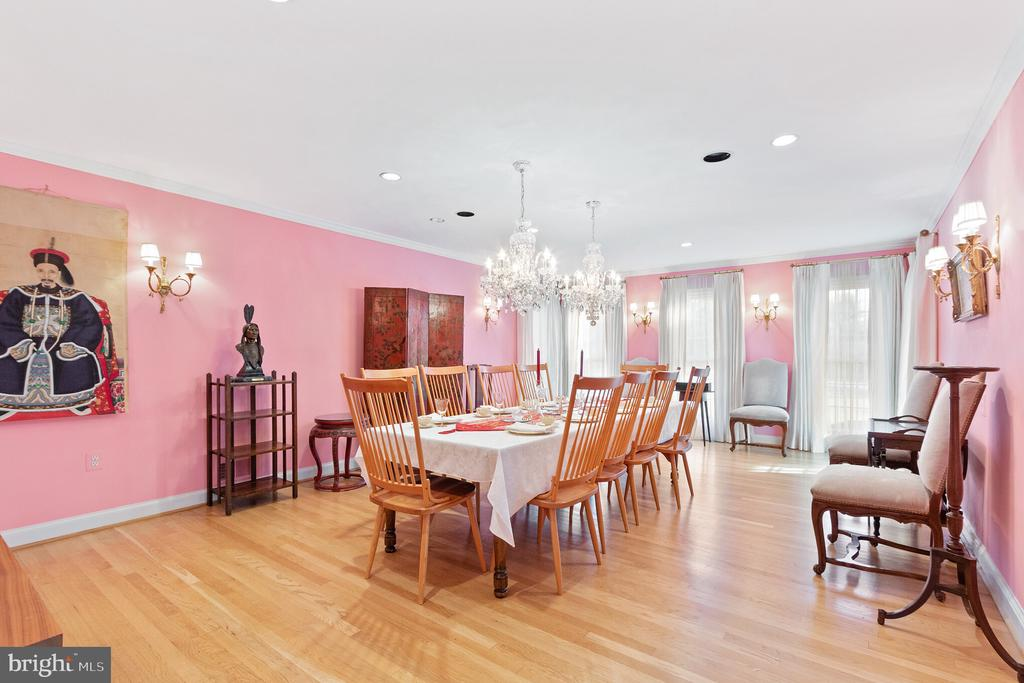 Formal Dining Room w/ Schonbek Crystal Chandeliers - 9927 S GLEN RD, POTOMAC