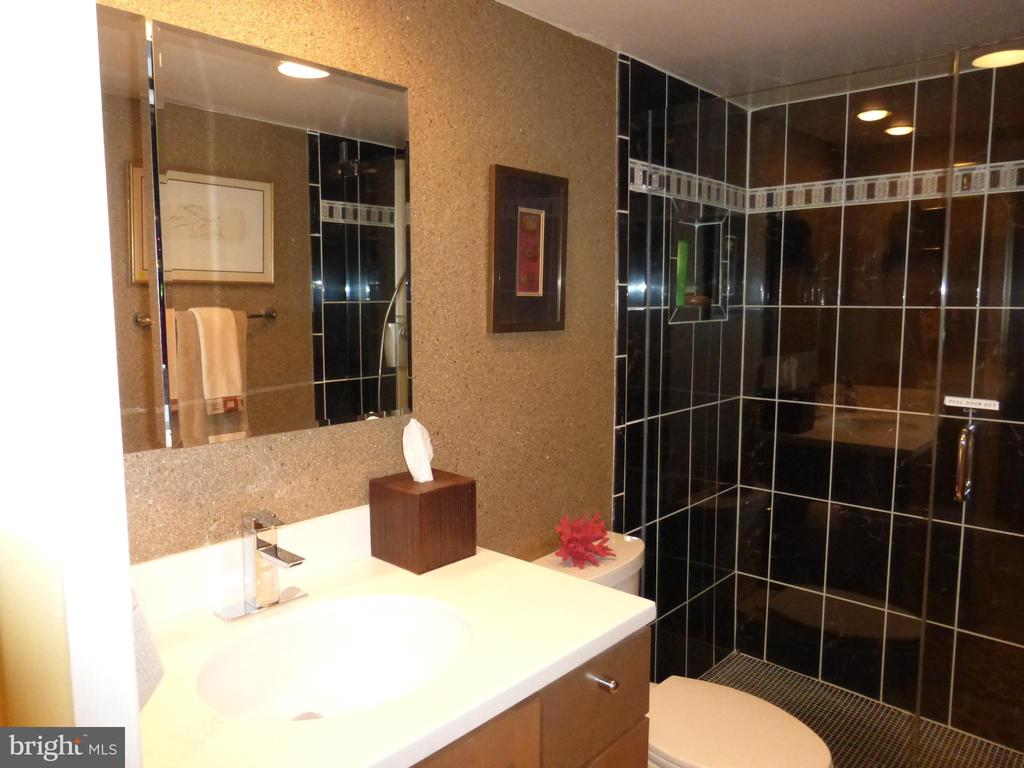 Bathroom with designer wall paper - 1300 S ARMY NAVY DR #1005, ARLINGTON