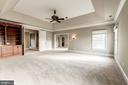 Master bedroom with built ins & brand new carpet - 19999 BELMONT STATION DR, ASHBURN