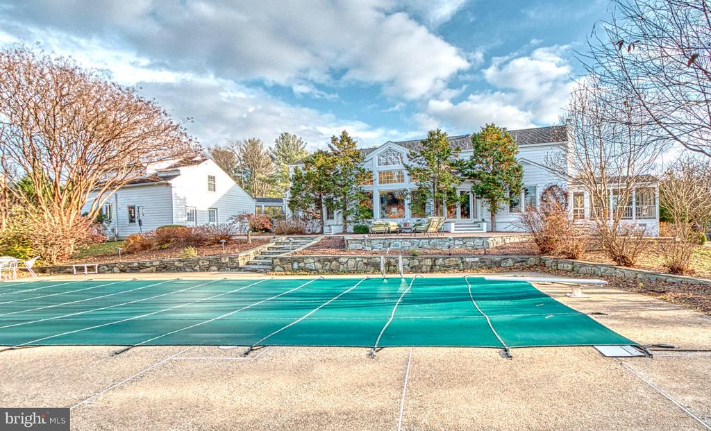 Backyard with Pool and Tennis Court - 9927 S GLEN RD, POTOMAC