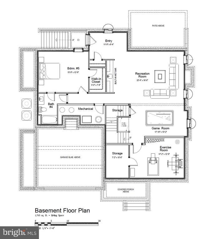 Lg rec room, exercise room, wet bar, en suite BR. - 5821 25TH RD N, ARLINGTON