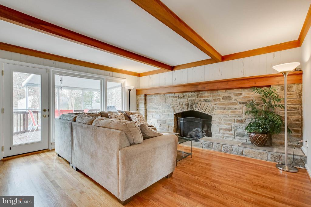 Family room with beautiful stone fireplace - 4301 NORBECK RD, ROCKVILLE