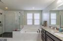 Dark tile floor in the shower, soaking tub! - 17101 GULLWING DR, DUMFRIES