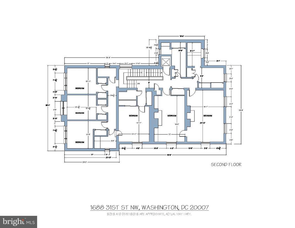 Floor Plan - Second Floor - 1688 31ST ST NW, WASHINGTON