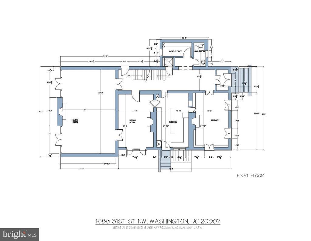 Floor Plan - First Floor - 1688 31ST ST NW, WASHINGTON