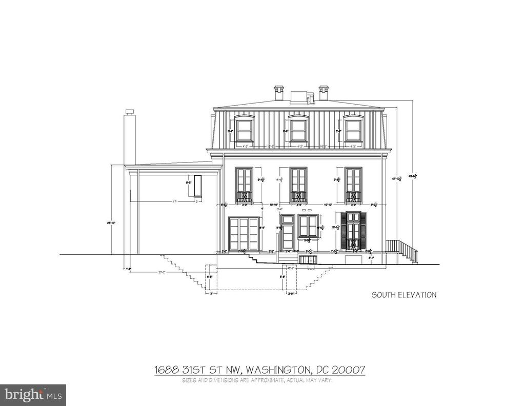 South Elevation - 1688 31ST ST NW, WASHINGTON