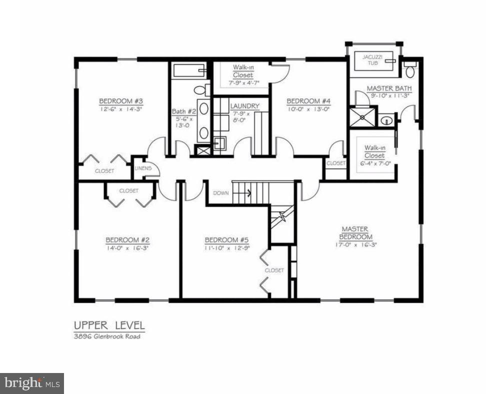 Upper Level Floorpan - 3896 GLENBROOK RD, FAIRFAX