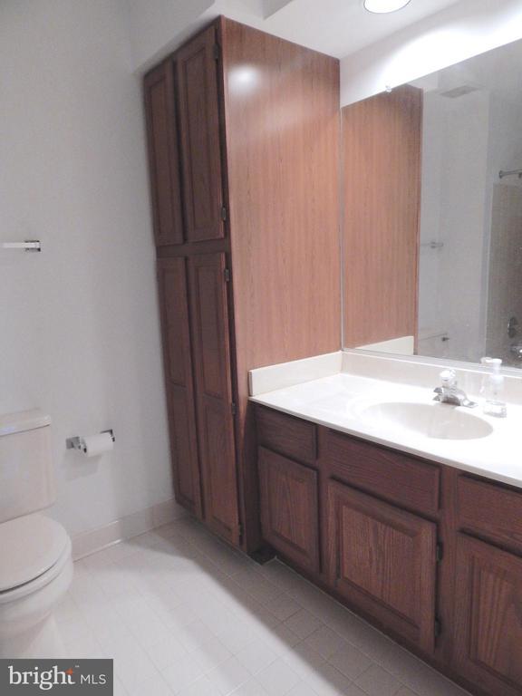 Upstairs hall bath with linen cabinet - 6205 PROSPECT ST, FREDERICKSBURG