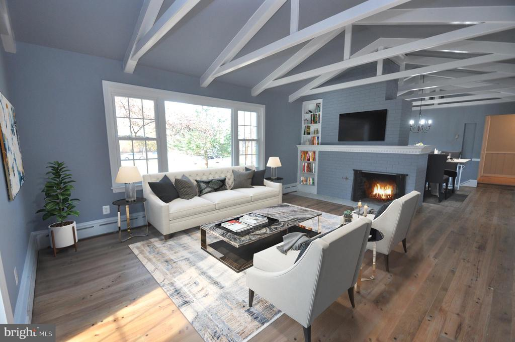 BRIGHT LIVING RM w/VAULTED CEILING & FIREPLACE - 10311 DETRICK AVE, KENSINGTON