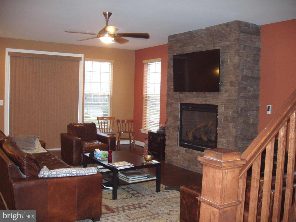 FAMILY ROOM WITH BRICK WALL, GAS FIREPLACE - 13501 WINDY MEADOW LN, SILVER SPRING