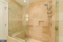 Separate shower in Master Bath with seat. - 601 N FAIRFAX ST #304, ALEXANDRIA