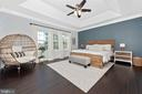 Master bedroom with tray ceilings - 7937 YELLOW SPRINGS RD, FREDERICK