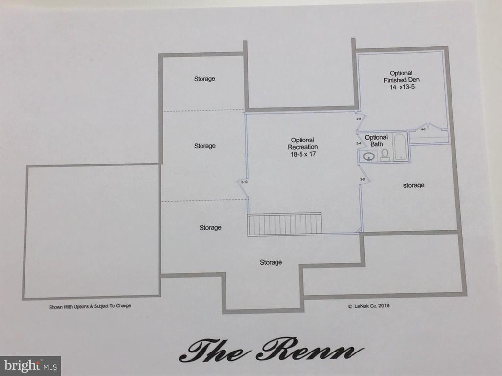Renn Model Optional Lower Level Floor Plan - 9809 MASSER RD, FREDERICK