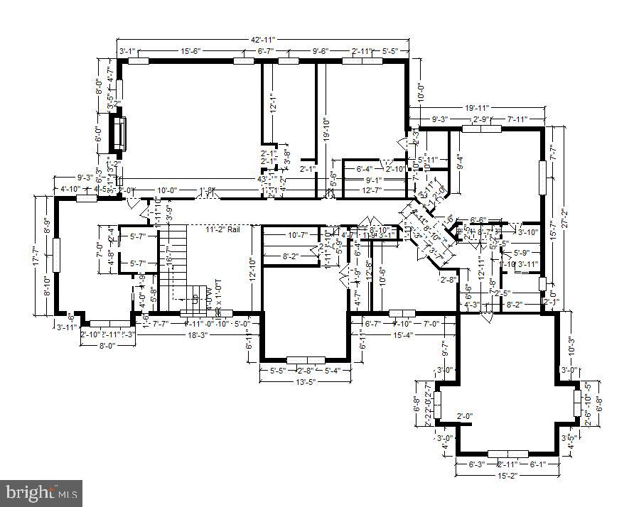 Upper Level Floor Plan with dimensions - 7306 GORDONS RD, FALLS CHURCH