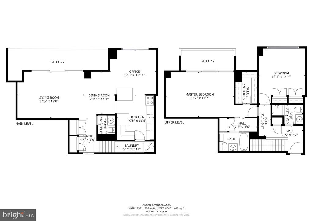 Floor plan for the two-level condo - 250 S REYNOLDS ST #801, ALEXANDRIA