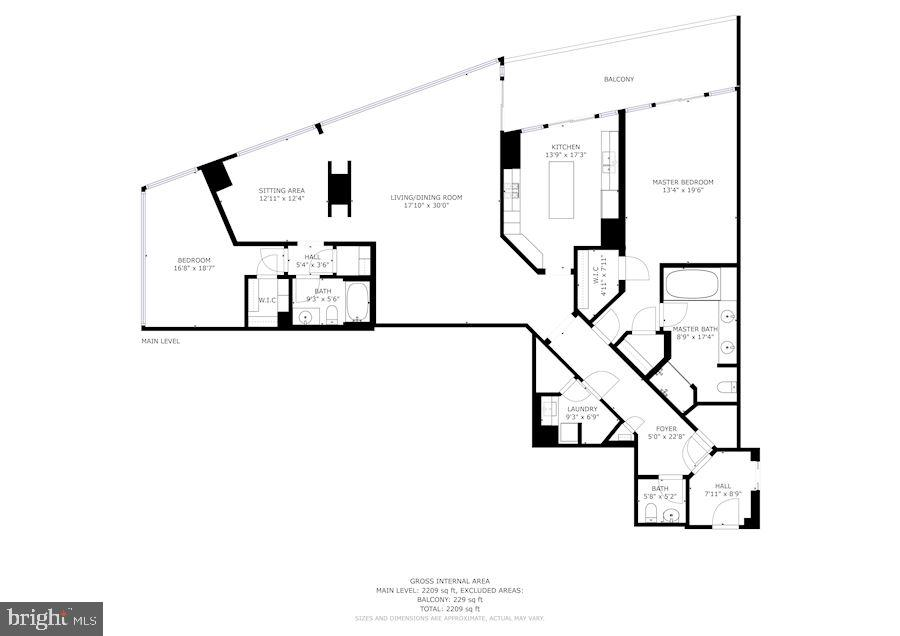 Floor plan of unit 1111 at the Turnberry Tower - 1881 N NASH ST #1111, ARLINGTON