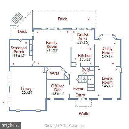 Floor Plan - Main Level - 43347 BUTTERFIELD CT, ASHBURN