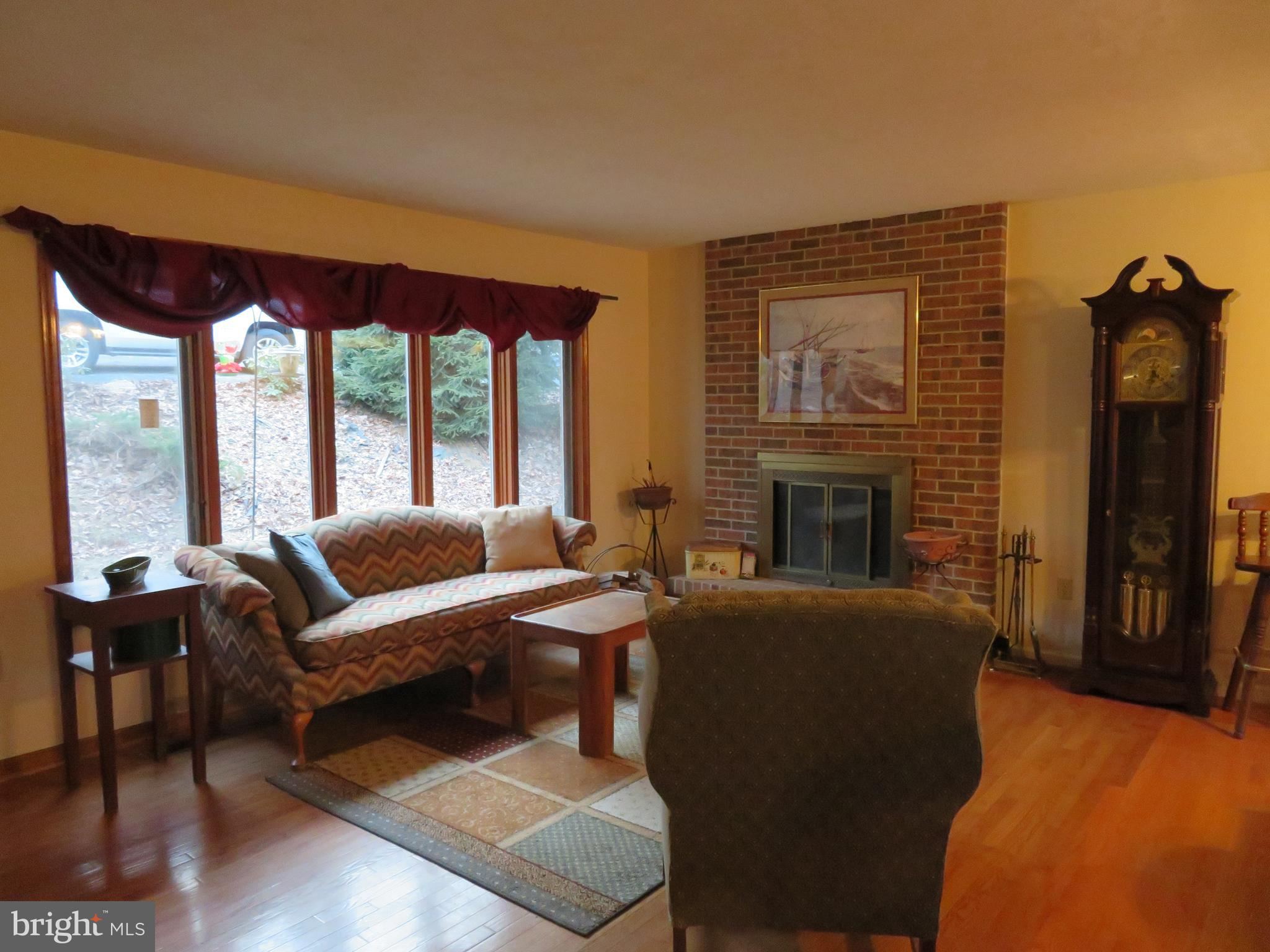 Living room with large bow window!