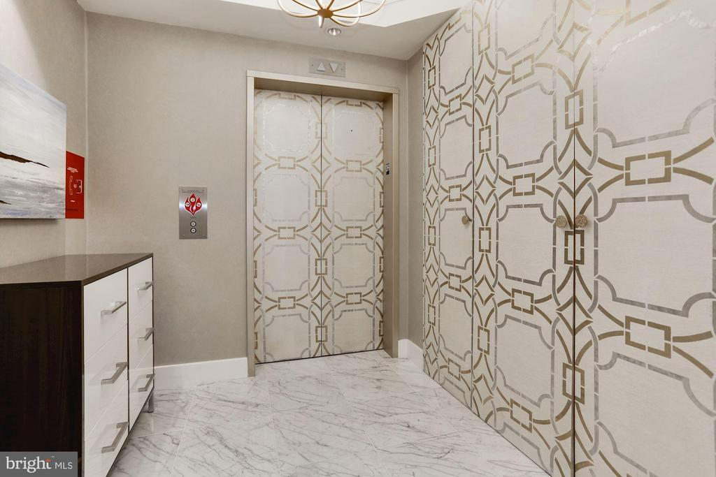 Private Elevator Foyer with Custom Coat Closet - 1881 N NASH ST #212, ARLINGTON