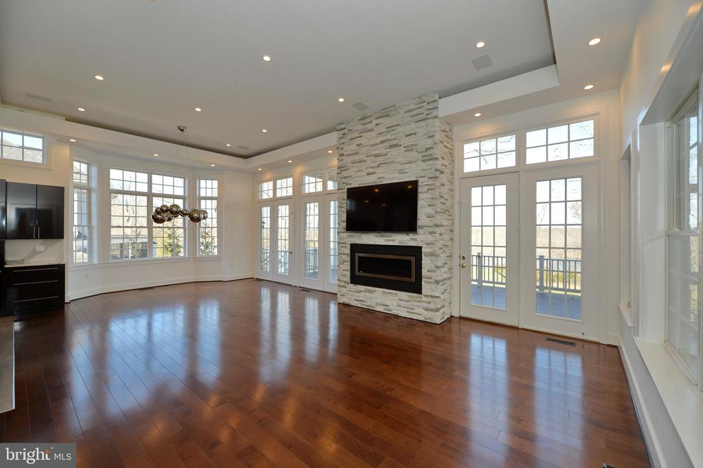 Family room has stacked stone fireplace - 18184 SHINNIECOCK HILLS PL, LEESBURG