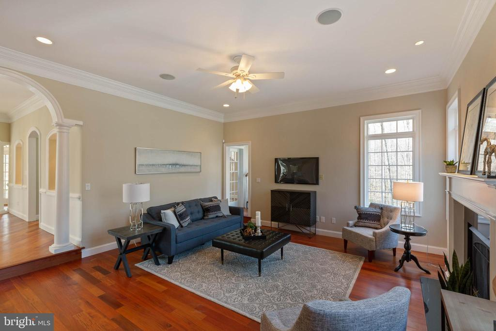 Family Room with Gas Fireplace - 8033 WOODLAND HILLS LN, FAIRFAX STATION