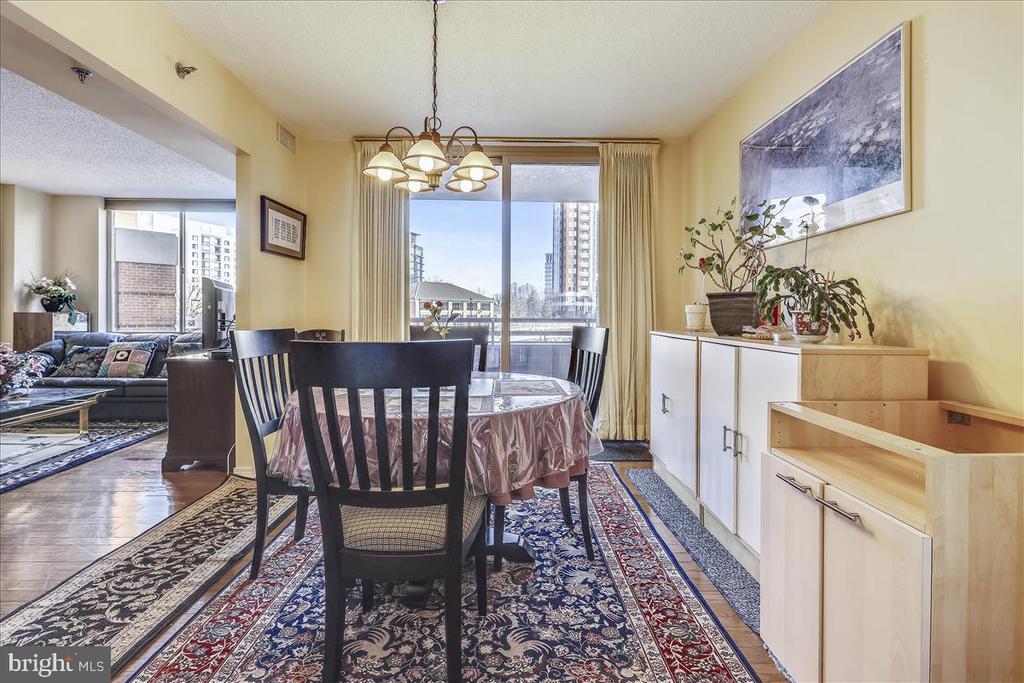 Dining Room with sliding glass door to Balcony - 5809 NICHOLSON LN #206, NORTH BETHESDA