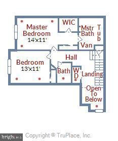 Upper level floor plan - 43415 MADISON RENEE TER #117, ASHBURN