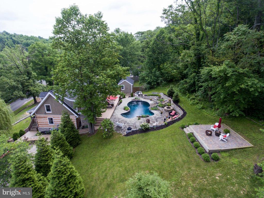 Aerial view from the west with pool and patio - 36847 STONY POINT RD, HILLSBORO