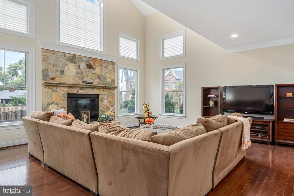 Spacious yet cozy Family Room with gas fireplace. - 10323 LYNCH LN, OAKTON