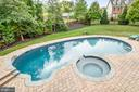 Stone pavers surround pool and hot tub - 10323 LYNCH LN, OAKTON